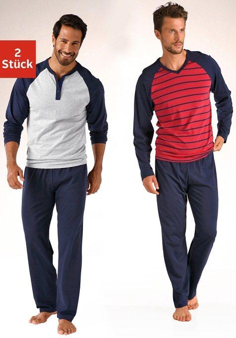 Le Jogger Pyjama (2 Stück), in langer Form, mit Raglanärmeln, aus reiner Baumwolle in grau meliert + rot
