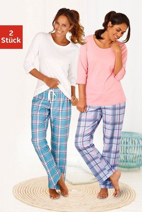 ARIZONA Karierte Pyjamas (2 Stück) mit passenden Basicshirts in koralle/kariert + ecru/kariert
