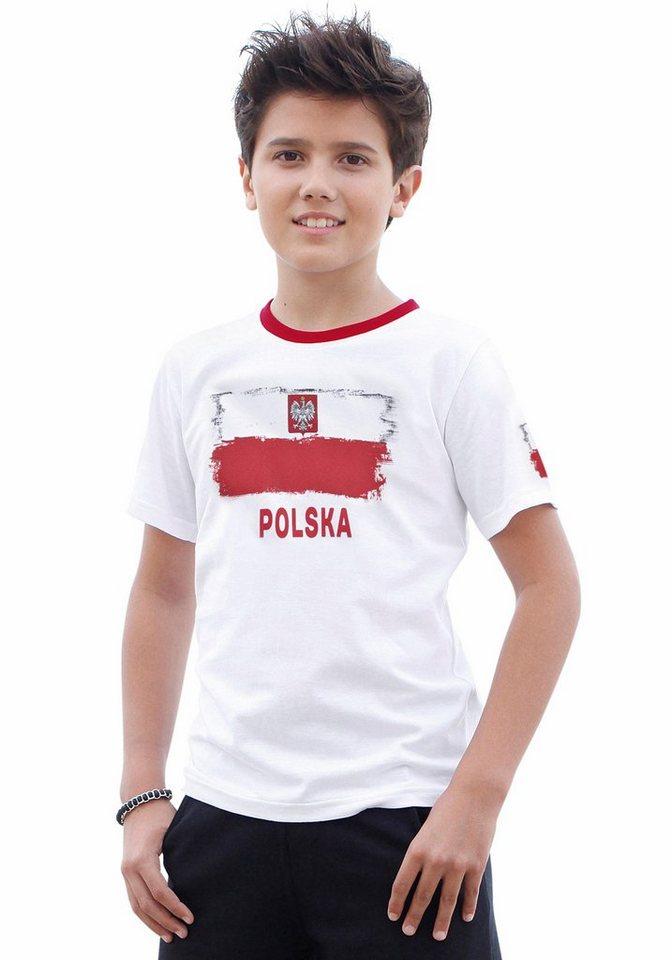 "KIDSWORLD T-Shirt Fanshirt ""Polska"" in weiß"