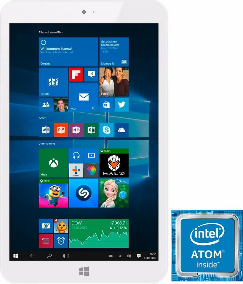 MPW815 Tablet-PC, Microsoft® Windows® 10 Home, Quad-Core, 20,3 cm (8 Zoll), 2048 MBDDR3L RAM in weiß