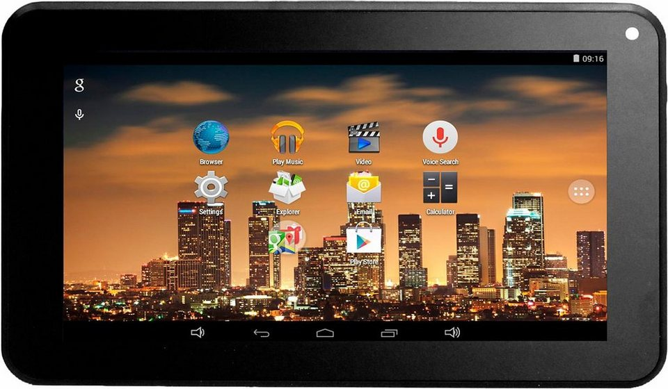 MP Man MPQC730 Tablet-PC, Android 4.4.4, Quad-Core, 17,8 cm (7 Zoll), 1024 MBDDR3-RAM in schwarz