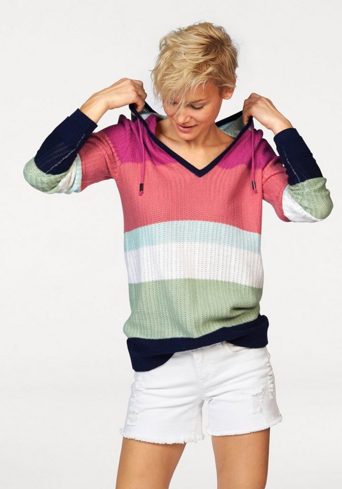 KangaROOS Kapuzenpullover mit Streifen im Colorblocking-Look in bunt