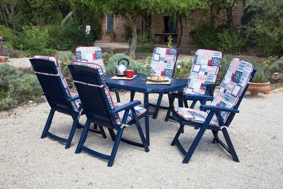 Best 13-tgl. Gartenmöbelset »Elise«, 6 Klappsessel, Tisch 137x90 cm, Kunststoff, blau in blau