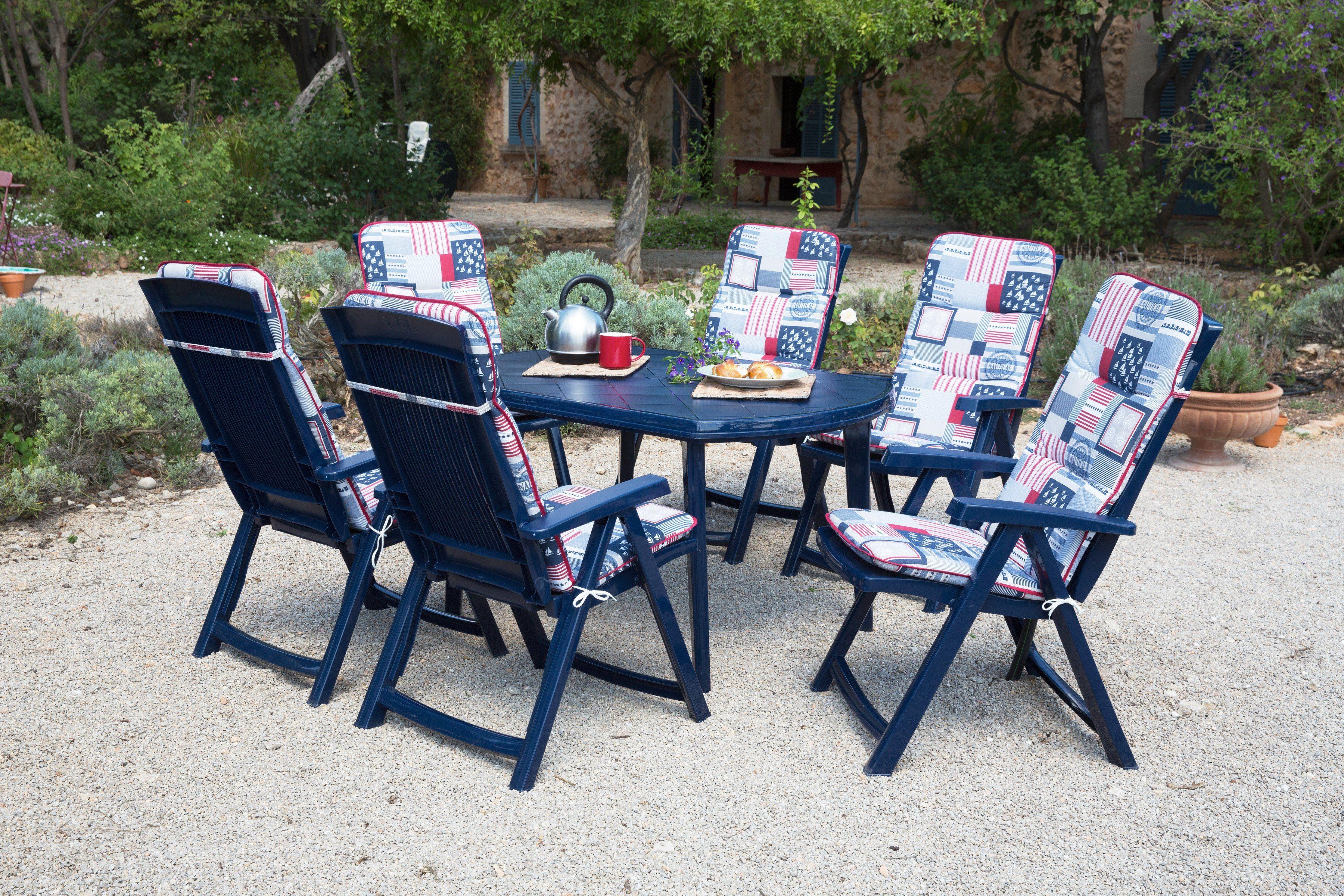 Best 13-tgl. Gartenmöbelset »Elise«, 6 Klappsessel, Tisch 137x90 cm, Kunststoff, blau
