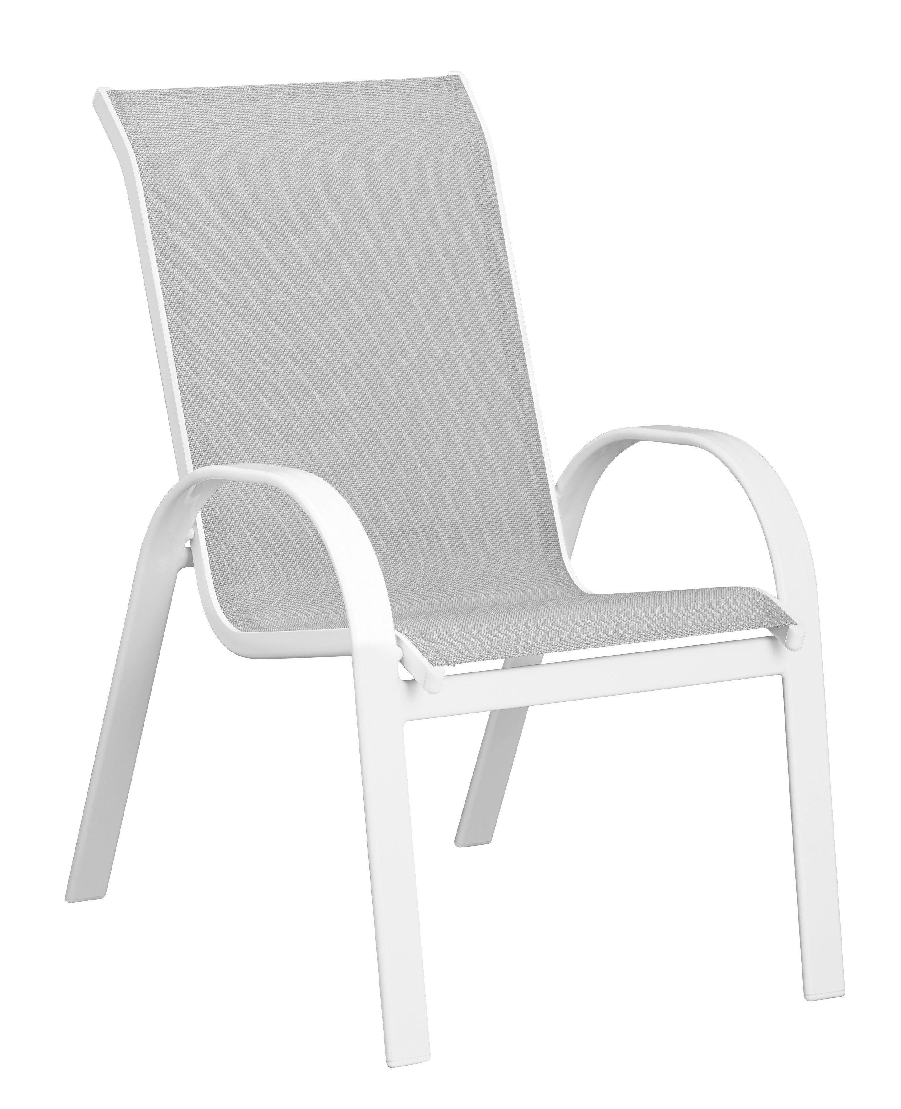 MERXX Gartenstuhl »Carrara«, (2er Set), Alu/Textil, stapelbar, weiß