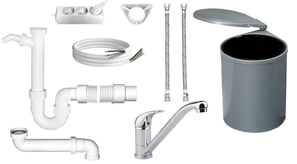 Küchen-Anschluss-Set, 10-tlg. in weiß, chromfarben, grau
