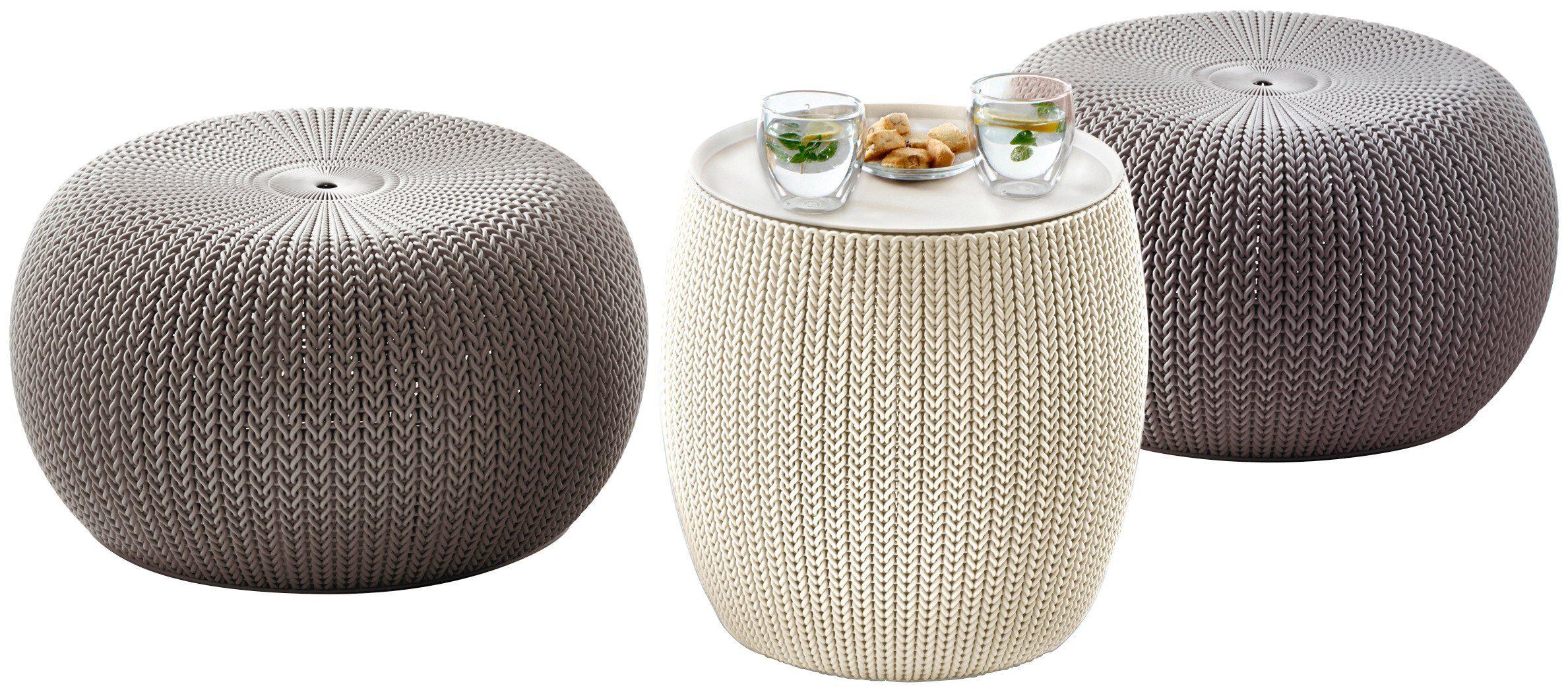 3-tgl. Gartenmöbelset »Cozy Urban«, 2 Sitzpuffs,TischØ 40,6 cm, Kunststoff, taupe/creme