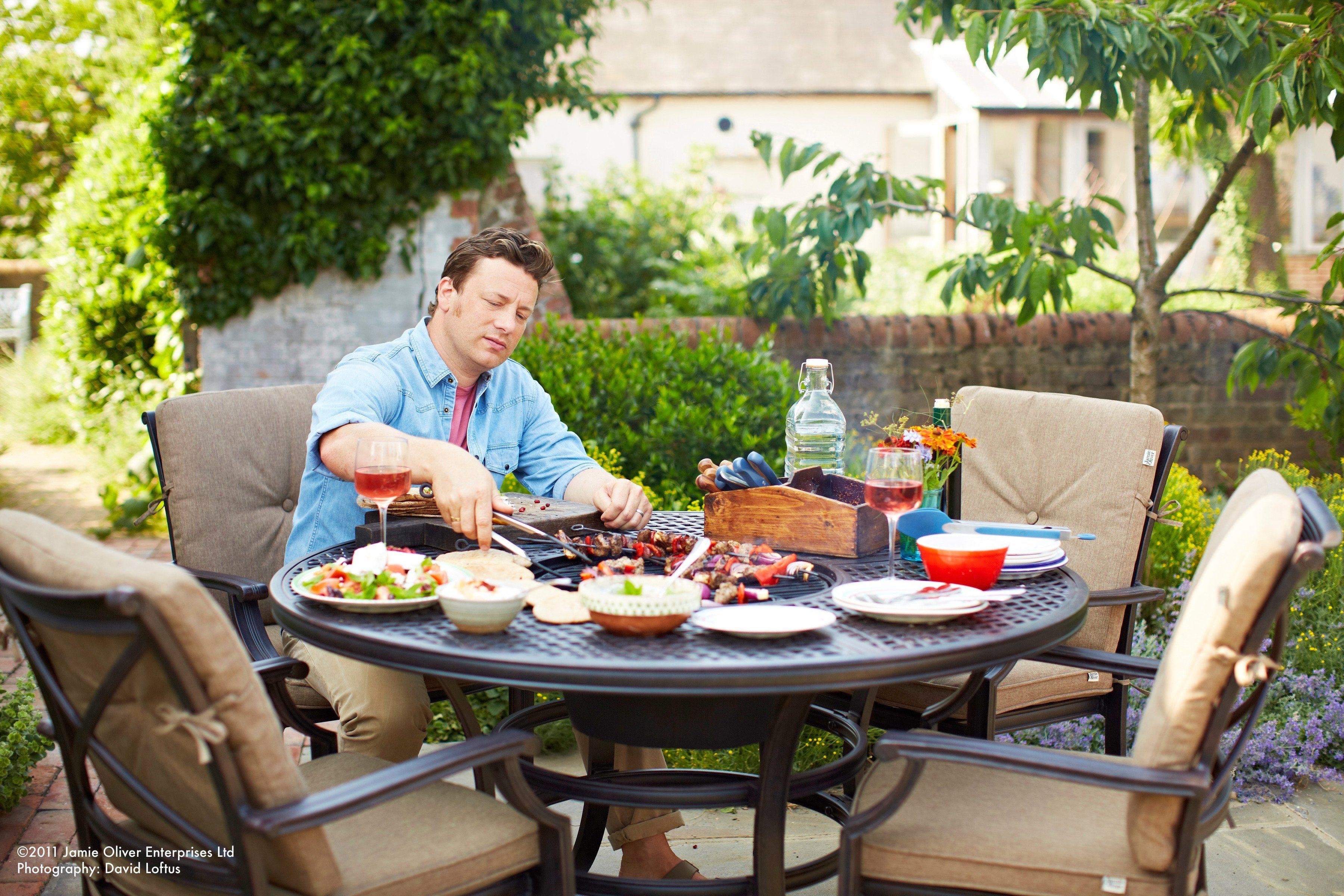 9-tlg. Gartenmöbelset »Jamie Oliver I«, 4 Sessel, Tisch Ø 130 cm, Aluminium, anthrazit