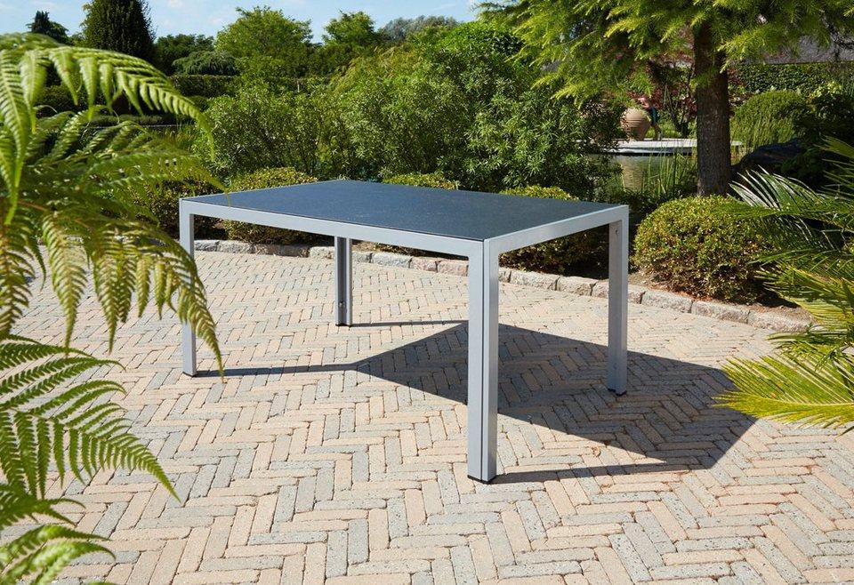 Gartentisch »Monza«, Alu/Spraystone, 150x90 cm in silber/schwarz