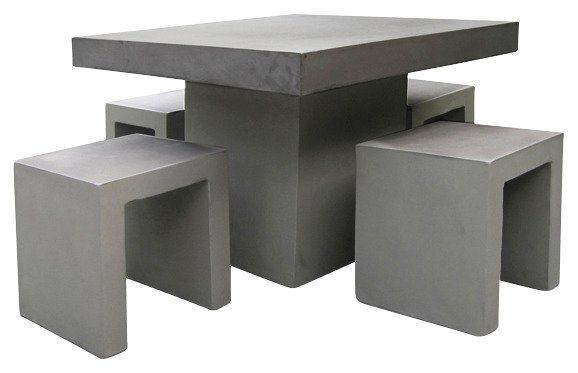 5-tgl. Gartenmöbelset »Rockall«, 4 Hocker, Tisch 100x100 cm, Beton-Glasfaser, grau in grau