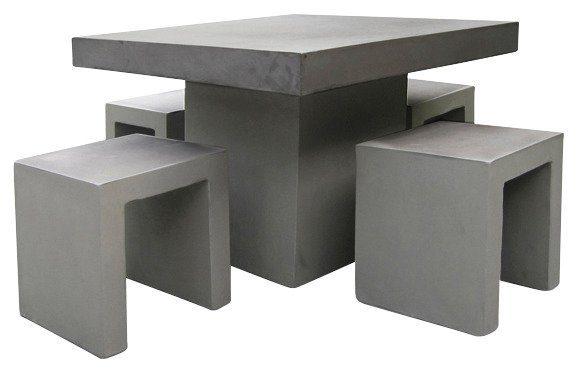Best 5-tgl. Gartenmöbelset »Rockall«, 4 Hocker, Tisch 100x100 cm, Beton-Glasfaser, grau