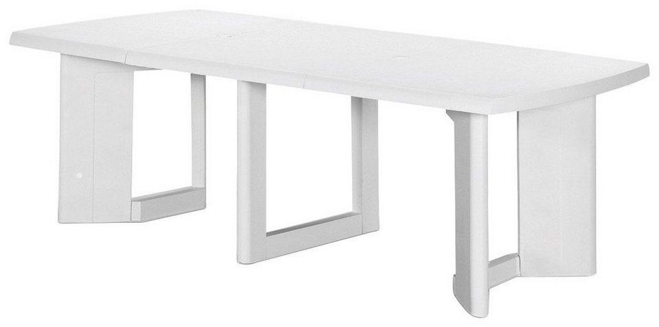 Gartentisch »Orlando«, ausziehbar, Kunststoff, 200-260x105 cm in weiß