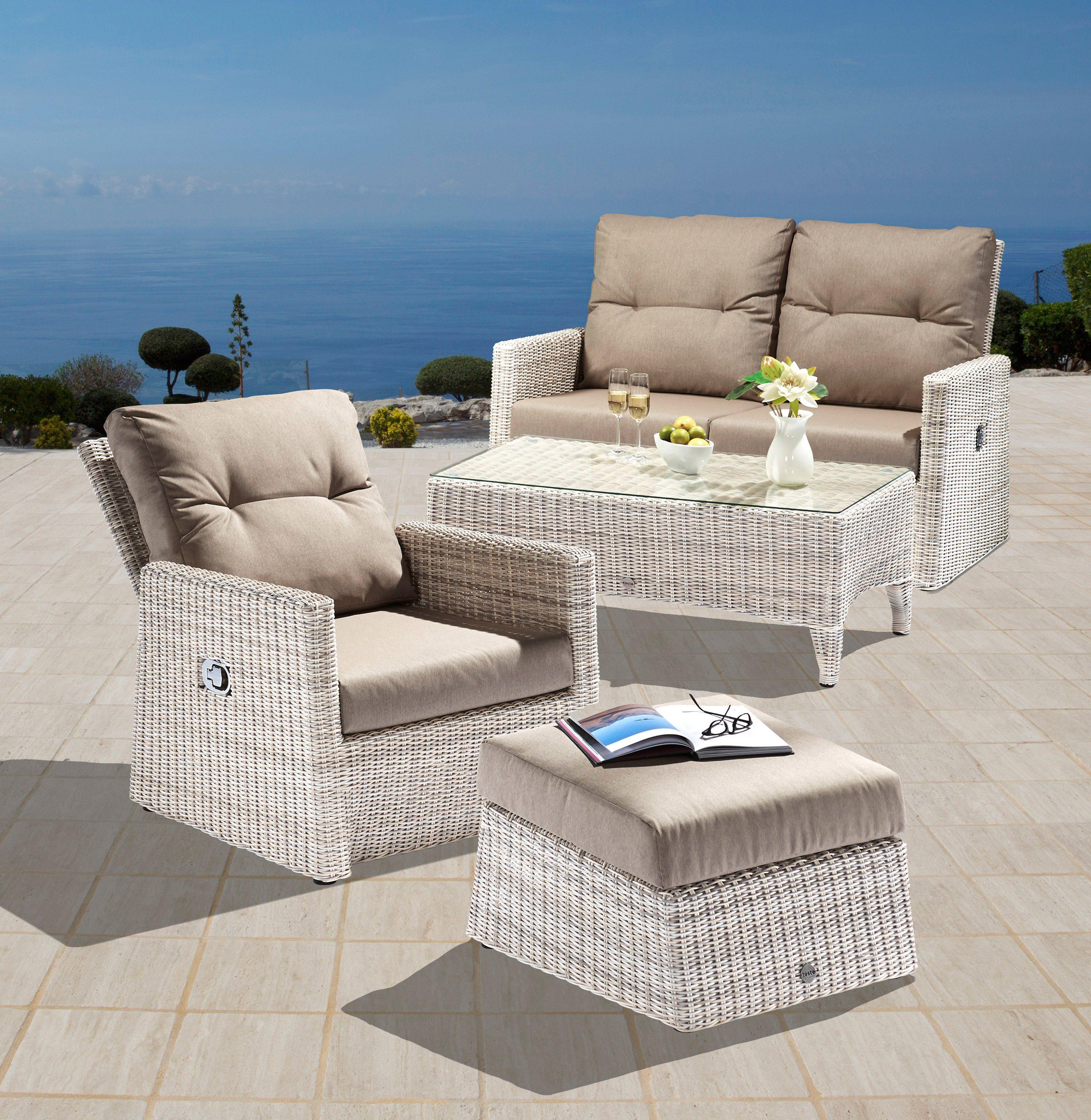 11-tgl. Loungeset »Catania«, 2er Sofa, Sessel, Hocker, Tisch 110x60 cm, Polyrattan, altweiß