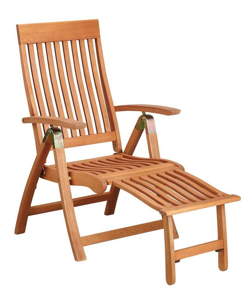 Relaxsessel »Comodoro«, Eukalyptusholz, verstellbar, klappbar, mit Fußteil in braun