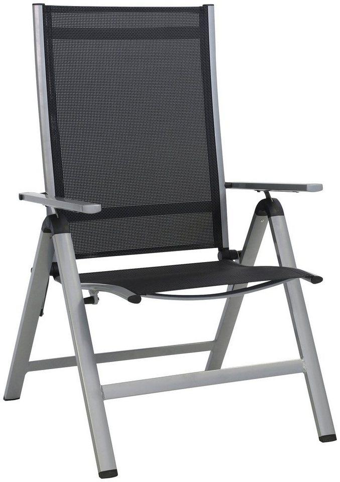 Gartenstuhl »Monza Comfort XL«, Alu/Textil, verstellbar, klappbar in silber/schwarz