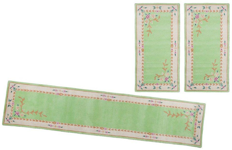 Bettumrandung, Theko, »Lifou« (3tlg.), reine Schurwolle, handgewebt in grün