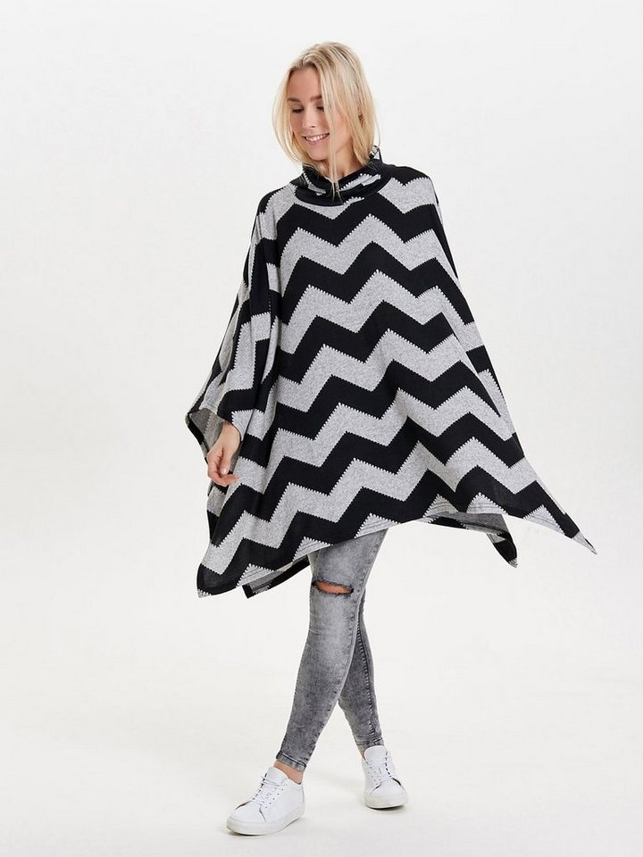Only Zickzackbedruckter Poncho in Light Grey Melange