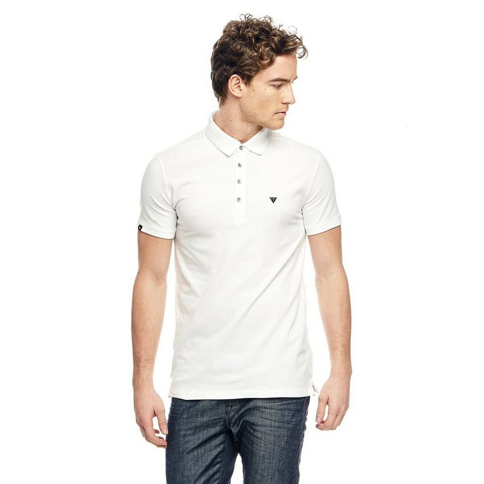 Guess T-Shirt »Light Stretch Pique Polo« in Weiß