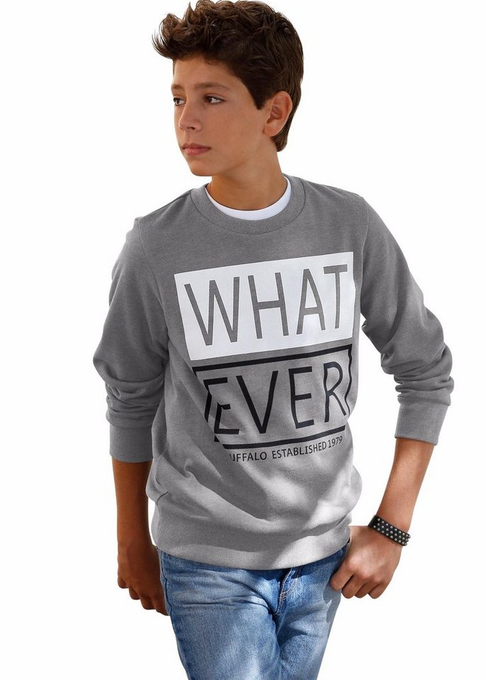 "Buffalo Sweatshirt ""WHAT EVER"" in dunkelgrau"