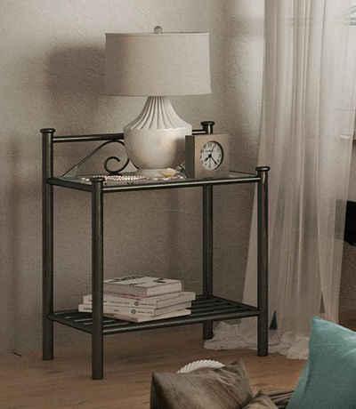 Home affaire Nachttisch »Birgit«, aus einem schönen Metallgestell, in zwei verschiedenen Farbvarianten, Höhe 58 cm