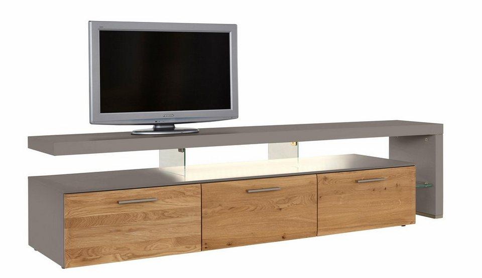 NETFURN BY GWINNER Lowboard mit TV-Brücke »SOLANO«, Lack fango, mit 3 Schubladen, Breite 228 cm in Asteiche gebürstet und geölt
