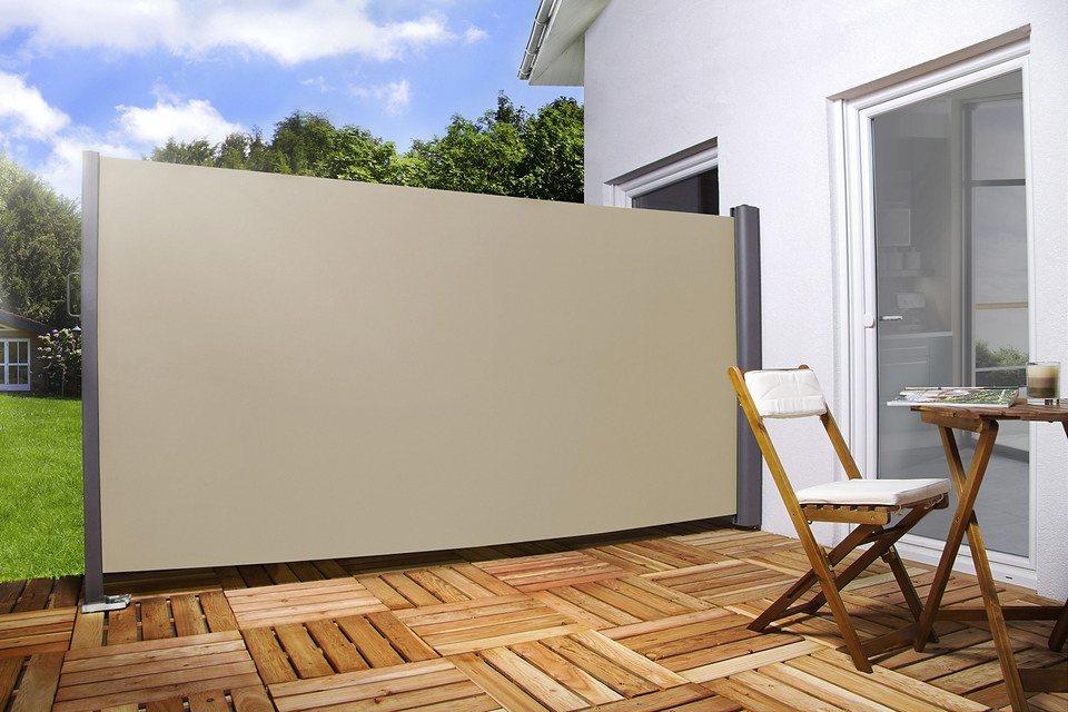 Sichtschutz/Seitenmarkise in 2 Höhen (180 und 200cm), Breite 300 cm in cremefarben in natur