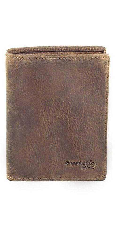 Greenland Geldbörse aus Leder im Used-Look, im Hochformat