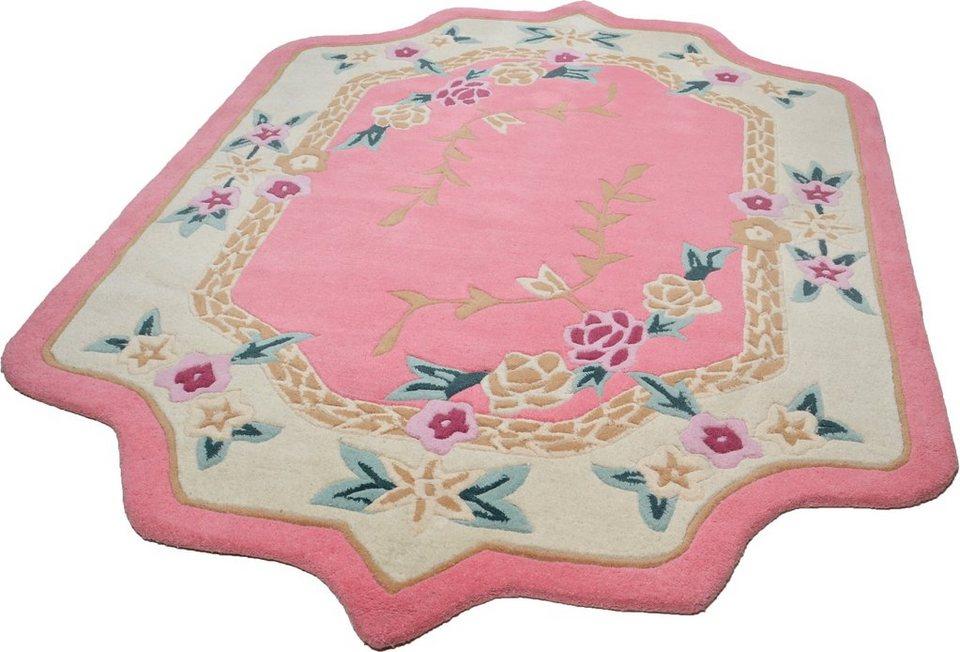 Teppich, barock, Theko, »Lifou«, reine Schurwolle, handgewebt in rosa