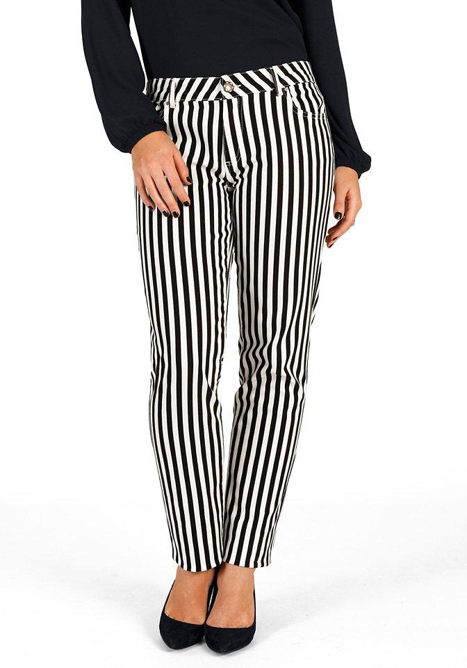 sheego Trend Schmale Stretch-Hose in schwarz-weiß
