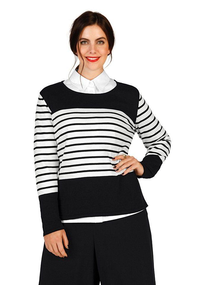 sheego Trend Pullover in schwarz-weiß