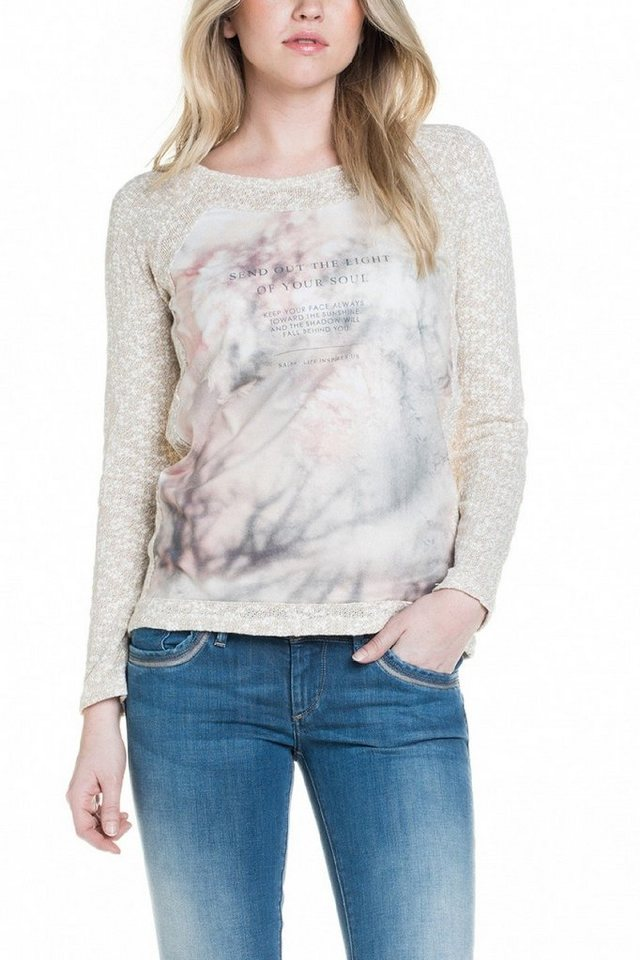salsa jeans T-Shirt mit Arm in Nature