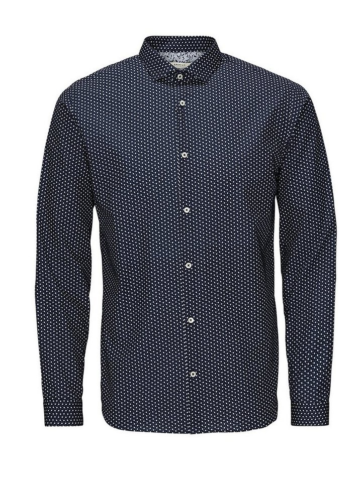 Jack & Jones Micro-Floralprint Businesshemd in Navy Blazer