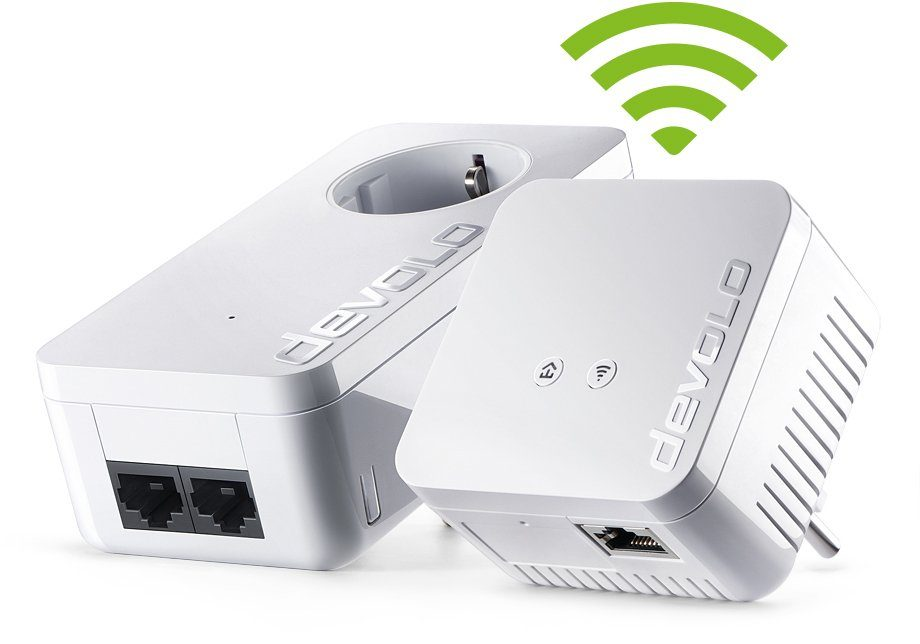 DEVOLO dLAN 550 WiFi Kit »Powerline + WLAN 500Mbit, 1xLAN,Repeater,range+«