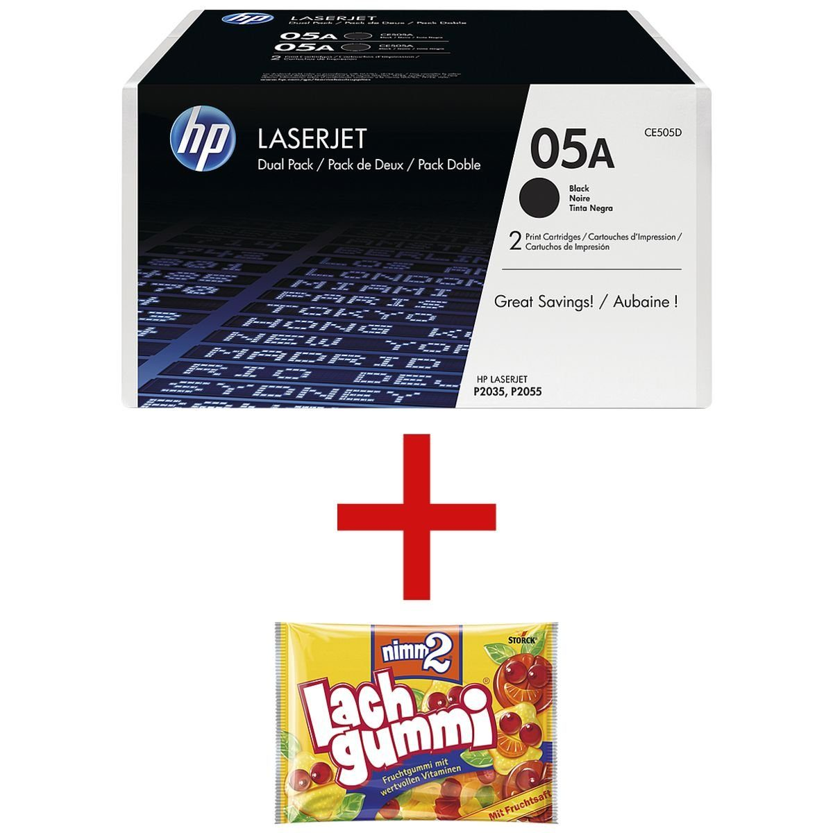 HP Doppelpack Druckkassette 05A inkl. Fruchtgummi »HP CE505D« 1 Set