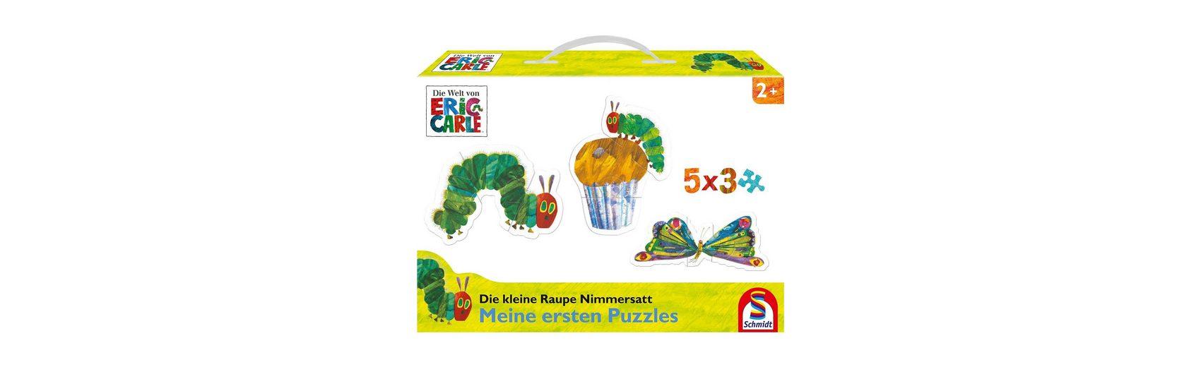 Schmidt Spiele Konturpuzzle Die kleine Raupe Nimmersatt, 5 x 3 Teile