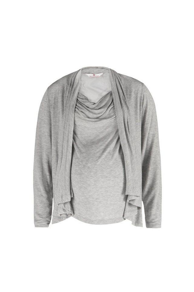 BELLYBUTTON Stillshirt »Mairah, langer Arm, Wasserfall Revers« in grey melange italy