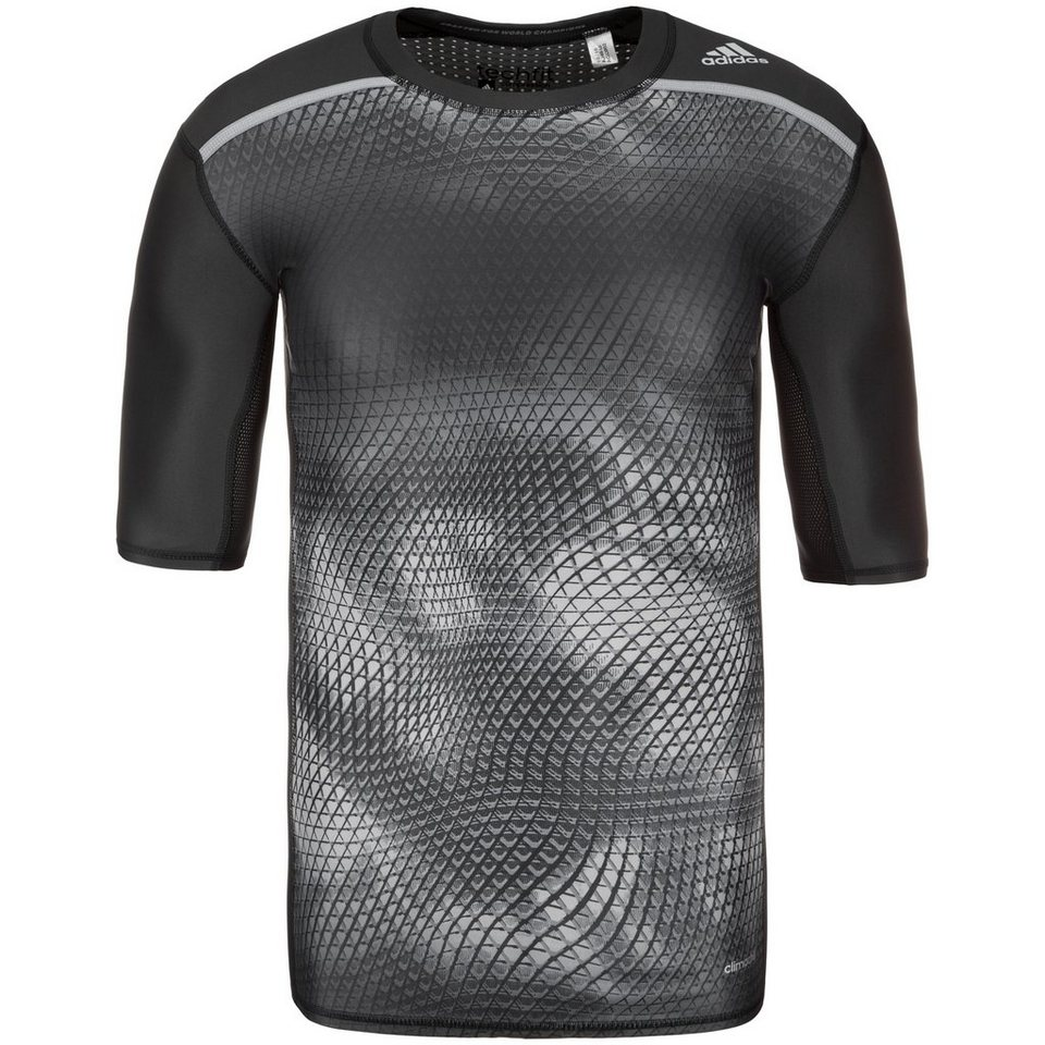 adidas Performance TechFit Chill Trainingsshirt Herren in schwarz / grau