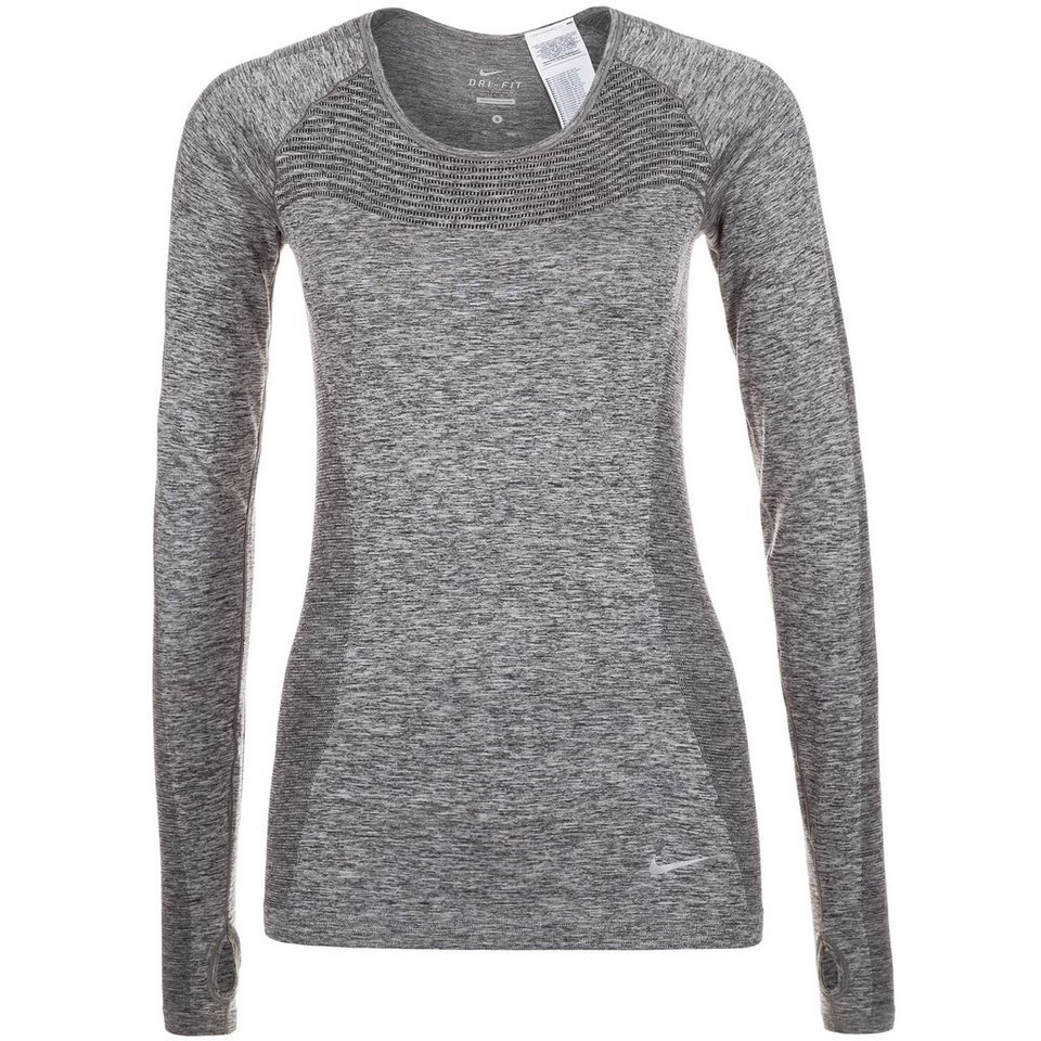 NIKE Dri-FIT Knit Laufshirt Damen in grau