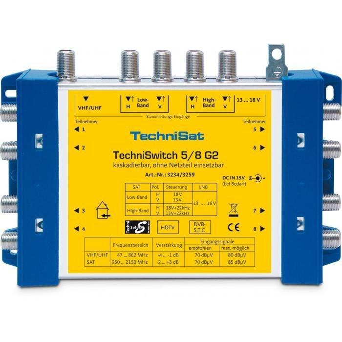 TechniSat Multischalter-Grundeinheit »TechniSwitch 5/8 G2 DC-NT« in blau-gelb