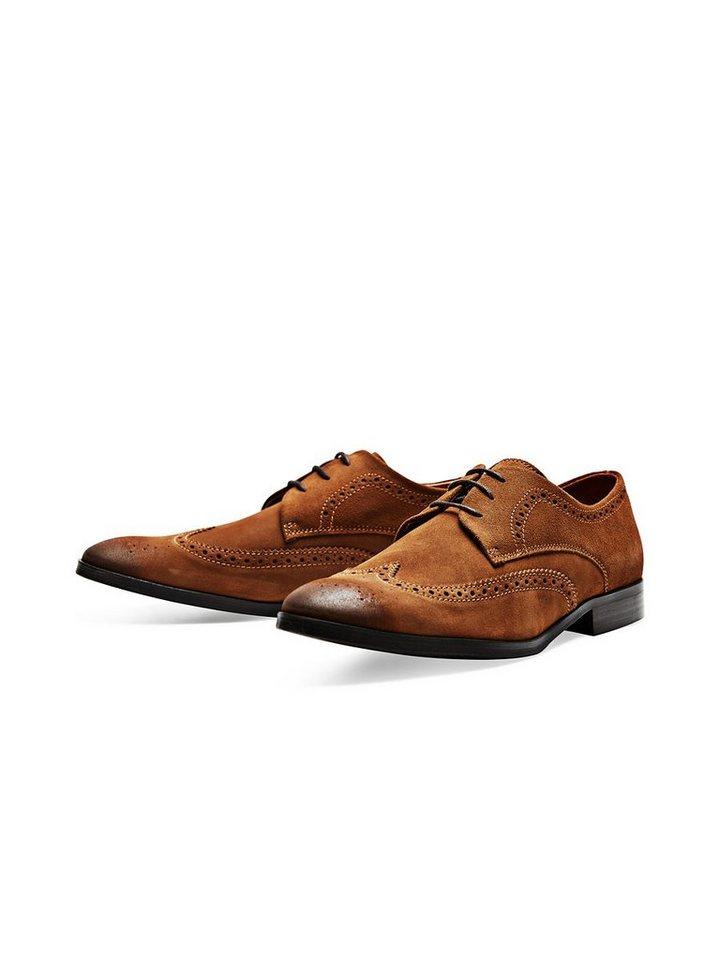 Jack & Jones Wildleder Brogue-Schuhe in Cognac