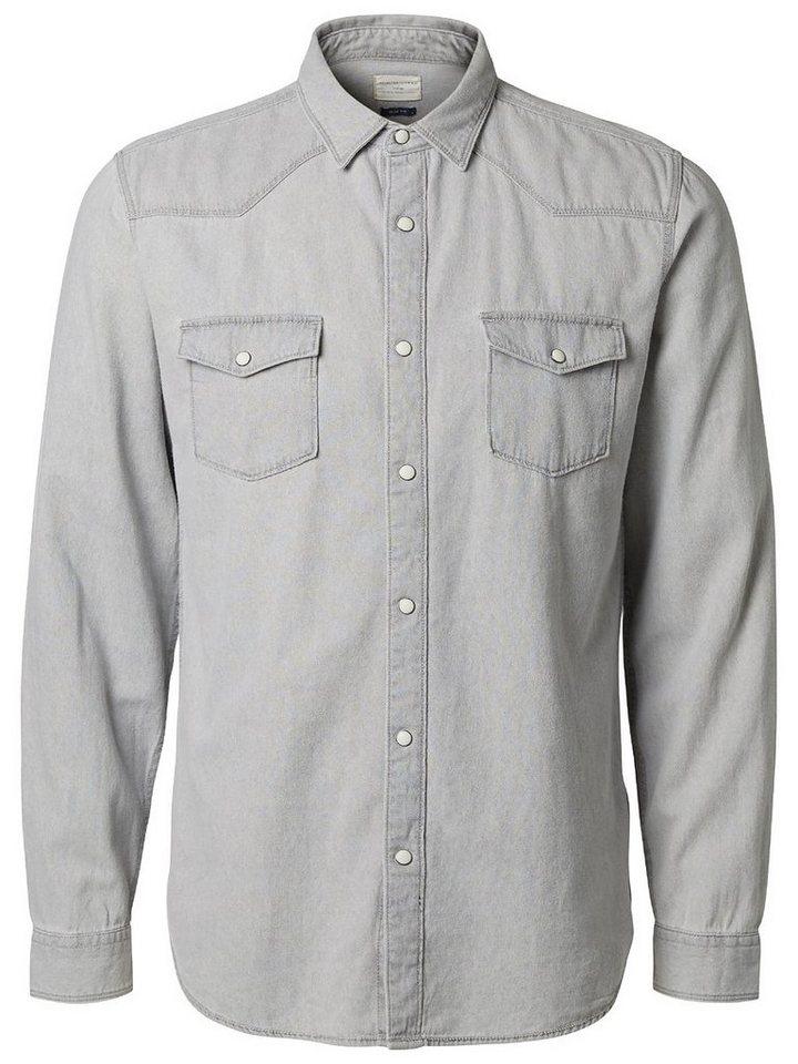 Selected Denim - Slim fit shirt in Light Grey Melange