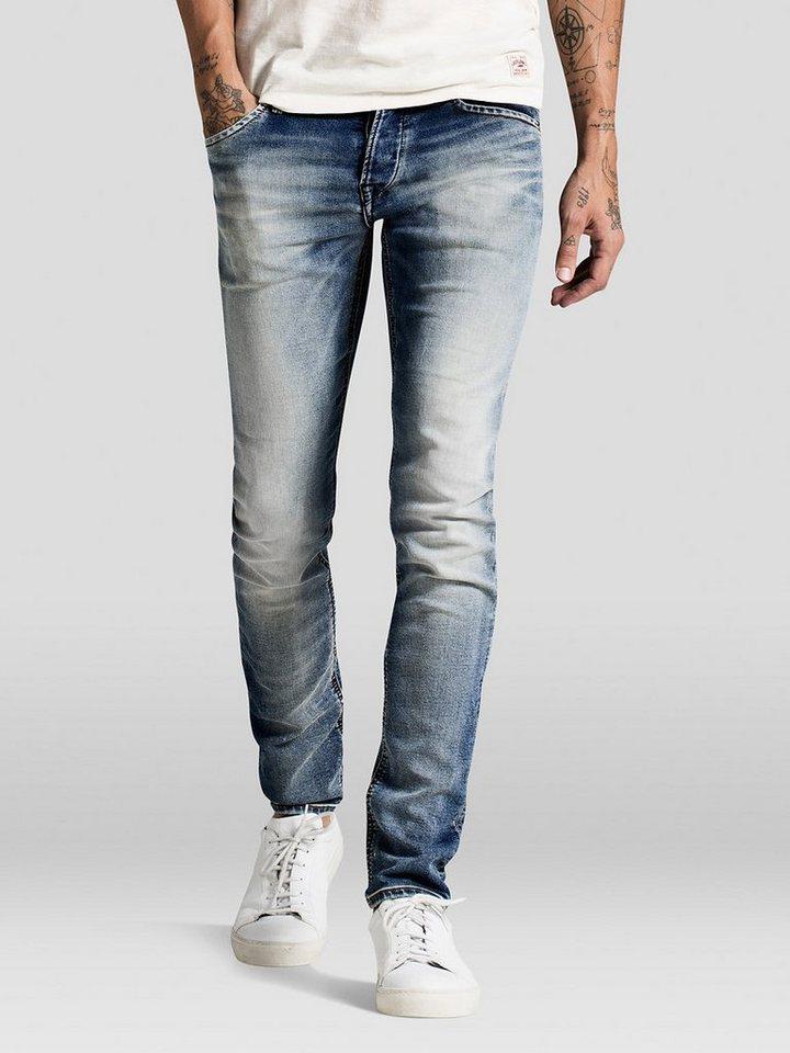 Jack & Jones Glenn Indigo-Strick Slim Fit Jeans in Blue Denim