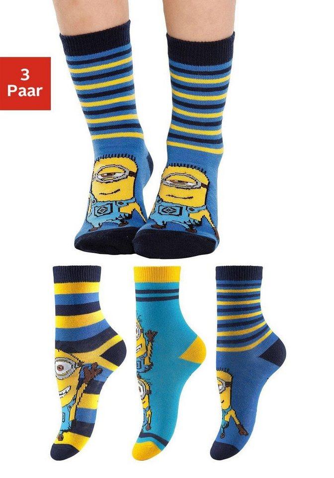 Vivance Minions Socken (3 Paar) mit verschiedenen Motiven in 3x minions