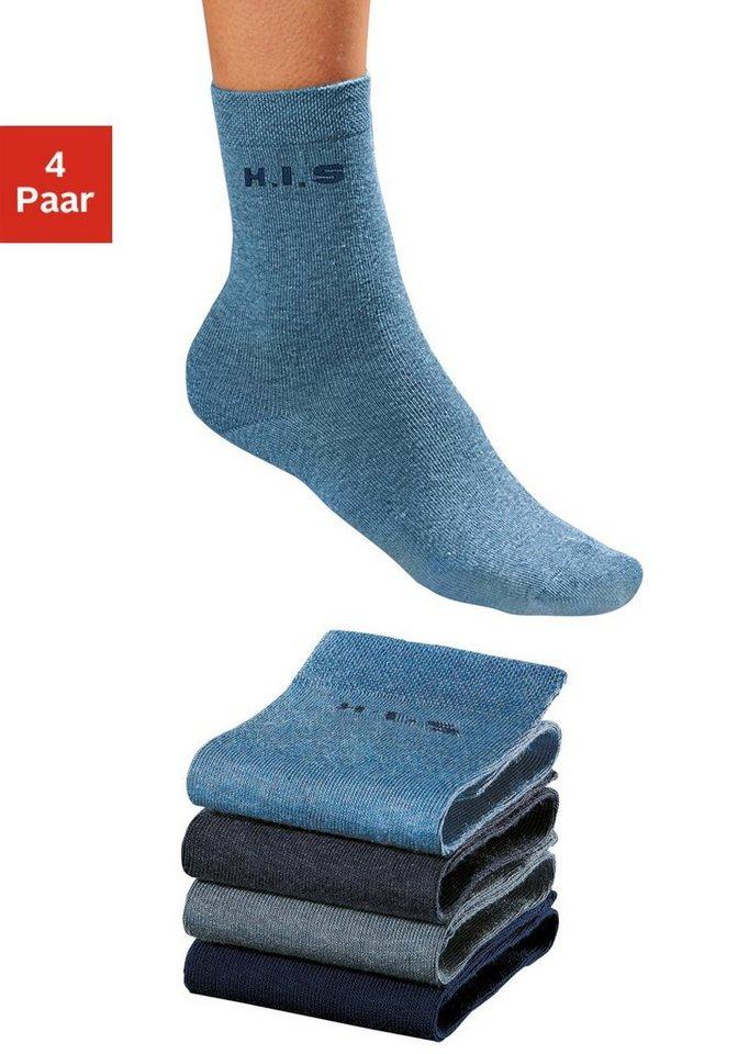 H.I.S Socken (4 Paar) ohne einschneidendes Bündchen in 1x marine + 3x Jeanstöne