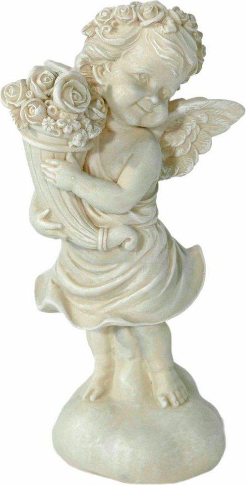Home affaire Dekofigur »Engel stehend mit Rosen, antik weiß« in weiß