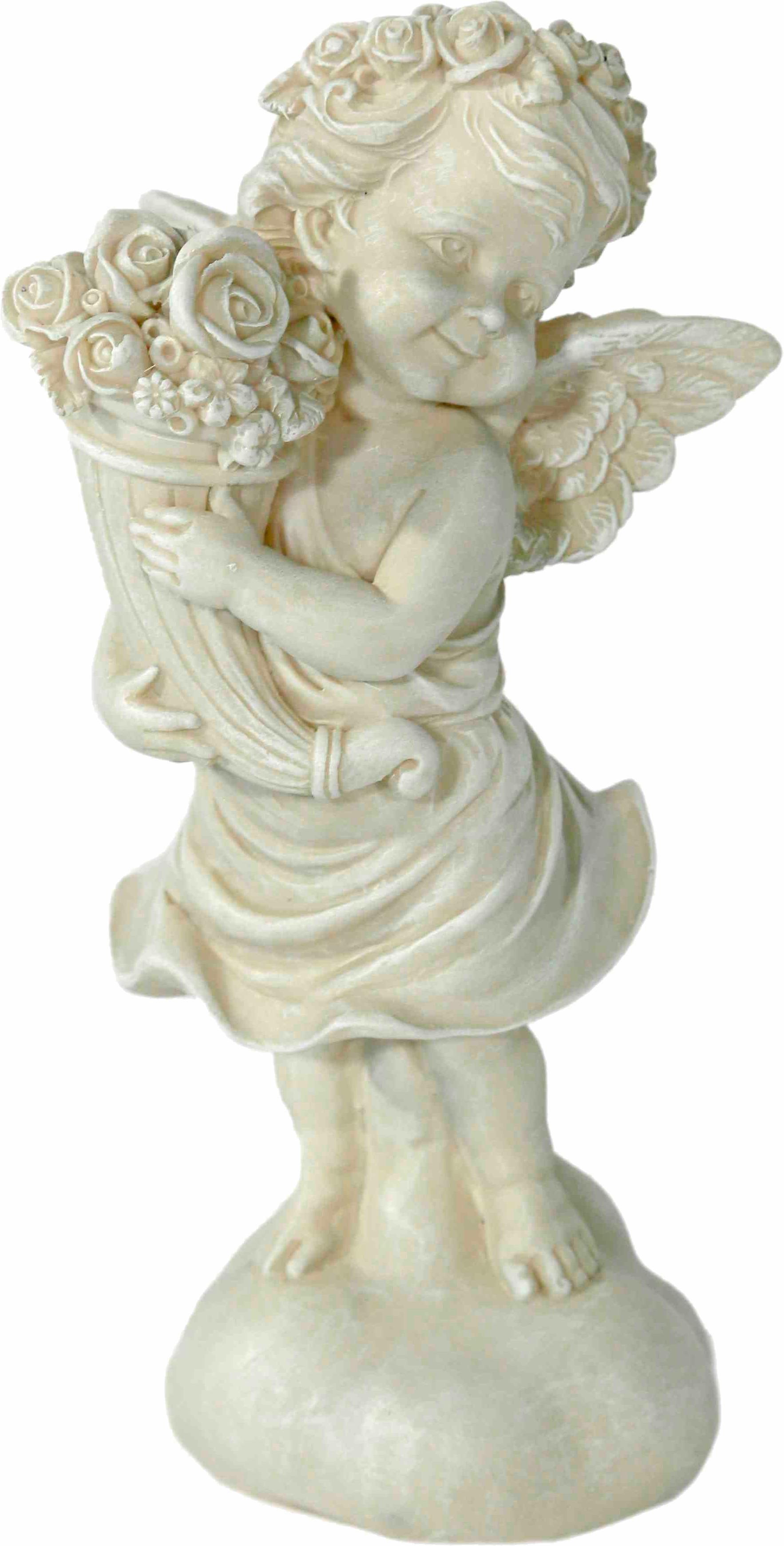 Home affaire Dekofigur »Engel stehend mit Rosen, antik weiß«