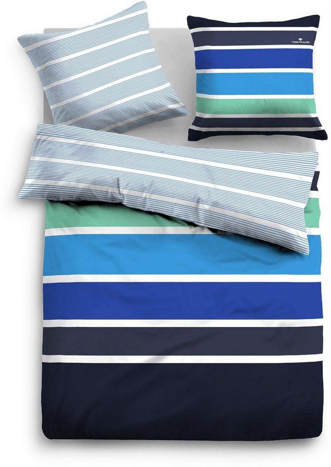 Wendebettwäsche, Tom Tailor, »Sammi«, breite Streifen in blau