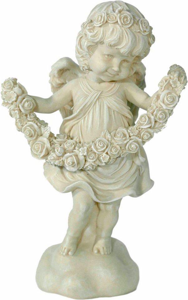 Home affaire Dekofigur »Engel stehend mit Rosengirlande, antik weiß« in weiß