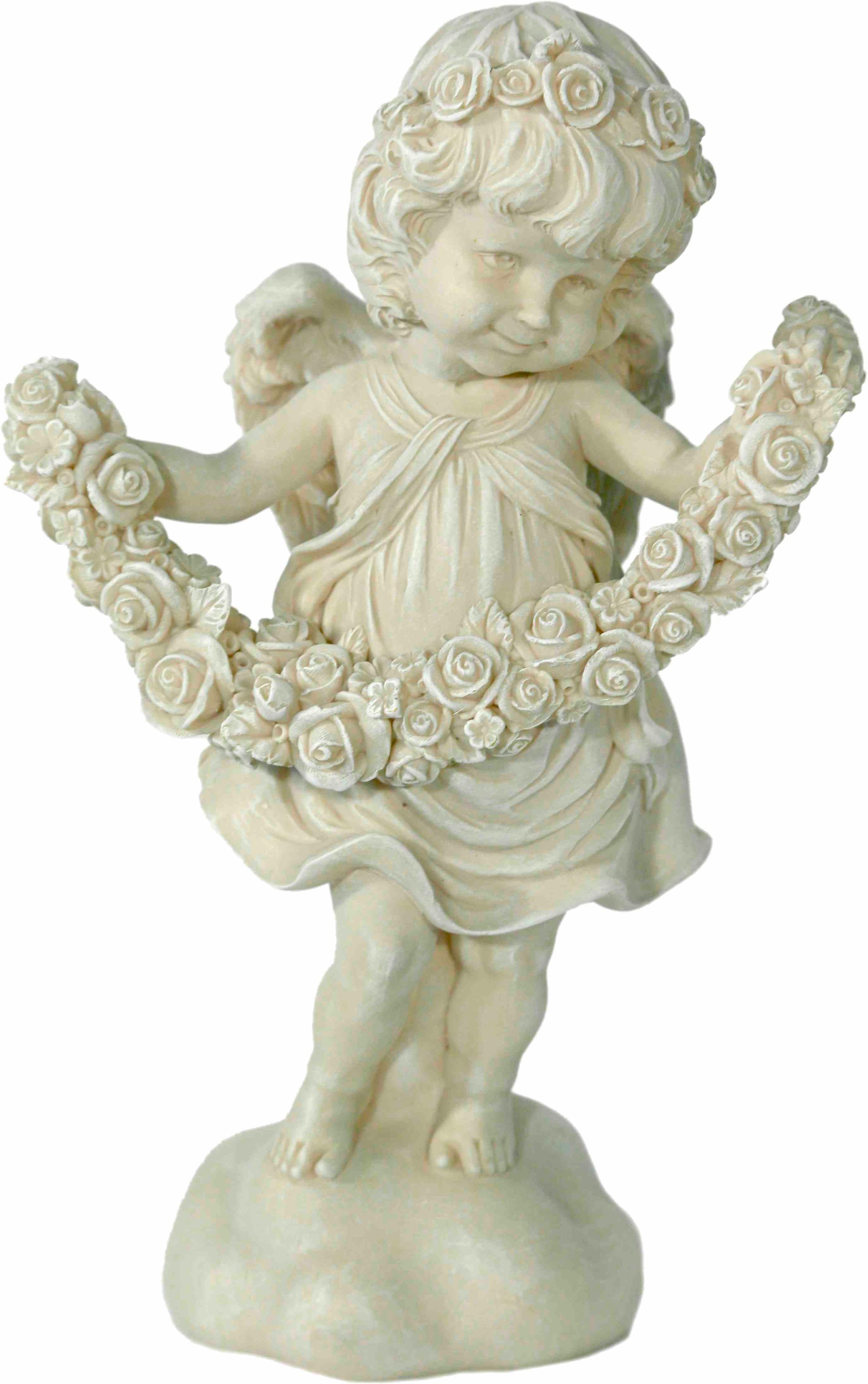 Home affaire Dekofigur »Engel stehend mit Rosengirlande, antik weiß«