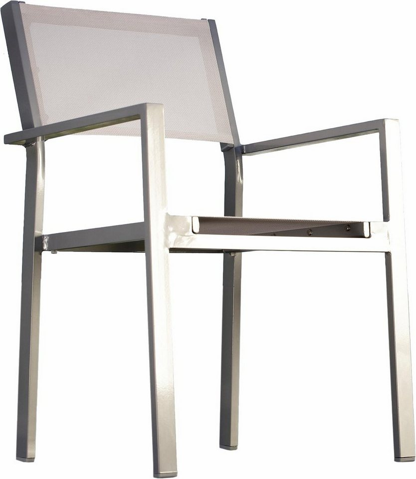 jankurtz Gartenstuhl mit Armlehne »cubic«, stapelbar, 4er-Set in schwarz
